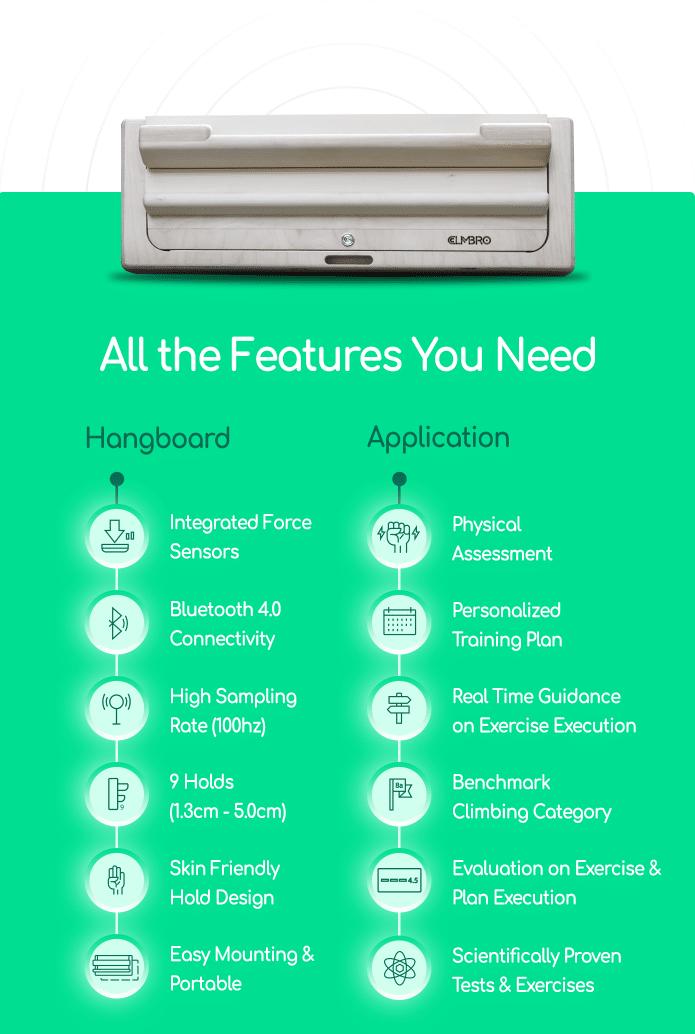 Climbro Smart Hangboard features